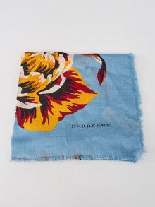 Burberry Blue Modal and Cashmere Peony Rose Print Shawl Scarf
