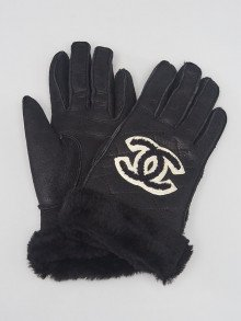 Chanel Black Nubuck and Shearling CC Gloves