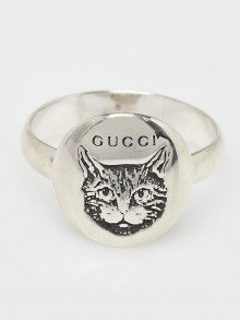 Gucci Silver Blind For Love Cat Ring Size 7