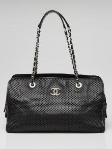 Chanel Black Perforated Leather Up-in-the-Air East/West Tote Bag