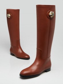 Gucci Brown Leather Knee High Rajah BootsSize 4.5/35
