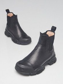 Gucci Black Leather Chunky Pull On Ankle Boots Size 5/35.5