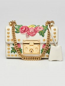Gucci White Leather Floral Embroidered Studded Small Padlock Shoulder Bag