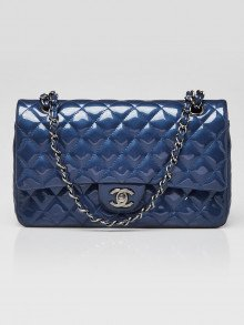 Chanel Blue Quilted Patent Leather Classic Medium Double Flap Bag