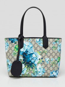 Gucci Beige/Blue GG Coated Canvas Supreme Blooms Reversible Tote Bag