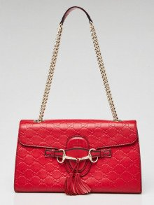 Gucci Red Guccissima Leather Medium Emily Chain Shoulder Bag