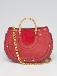 Chloe Red Leather and Suede Pixie Top Handle Mini Crossbody Bag