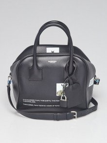 Burberry Black Leather Small Montage Bowling Bag