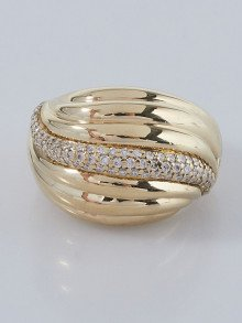 David Yurman 18k Yellow Gold and Diamond Sculpted Cable Dome Ring Size 7.5