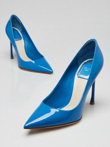 Christian Dior Blue Patent Leather Pointed-Toe Pumps Size 5/35.5